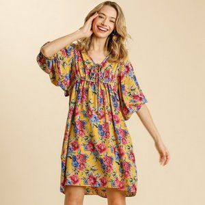 Umgee Mustard Mix Floral Boho Babydoll Dress NWT
